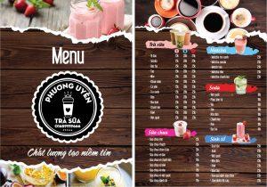 Mẫu menu đồ uống 01 tại Ánh Dương